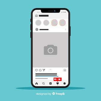 Modello di cornice per foto di instagram sul telefono