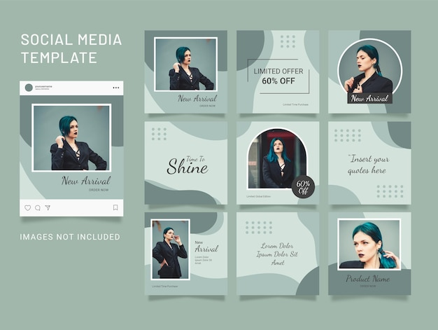 템플릿 instagram 퍼즐 패션 소셜 미디어 게시물
