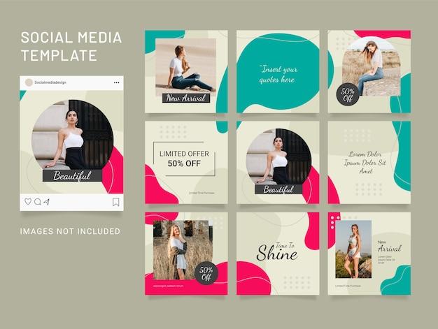 Template instagram puzzle 소셜 미디어 피드