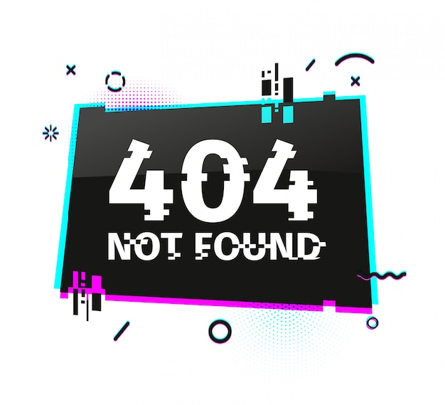 Template  internet banner with glitch effect. horizontal black rectangle layout website page  with broken particles. banner error page with pixel graphic and geometric crash element.