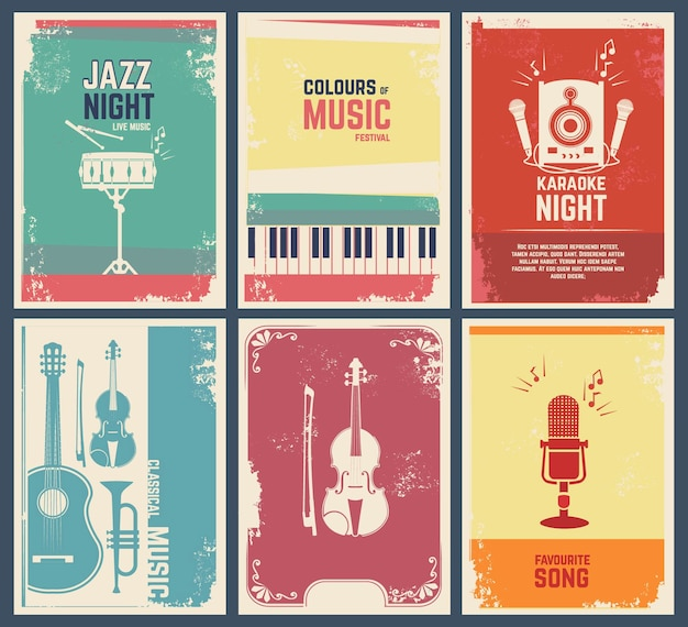 Template of invitation cards with pictures of musical instruments.  music favourite song and party jazz festival banner illustration