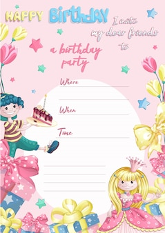 Template invitation to a child's happy birthday party for little princesses.