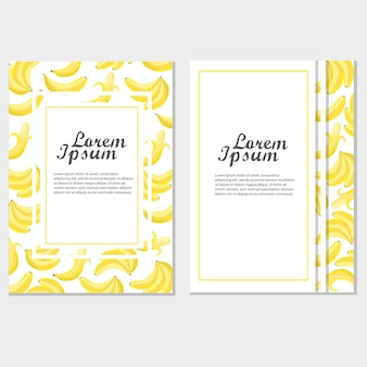 Template of invitation or poster with bananas for design. vector illustration
