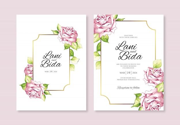 花の水彩画とテンプレート招待状結婚式カード