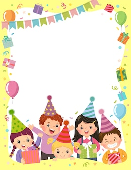 Template is ready for invitation for birthday party card with group of kids holding gift boxes.