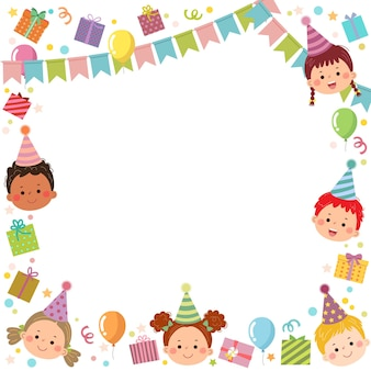 Template is ready for invitation or birthday party card with kids and gift boxes.