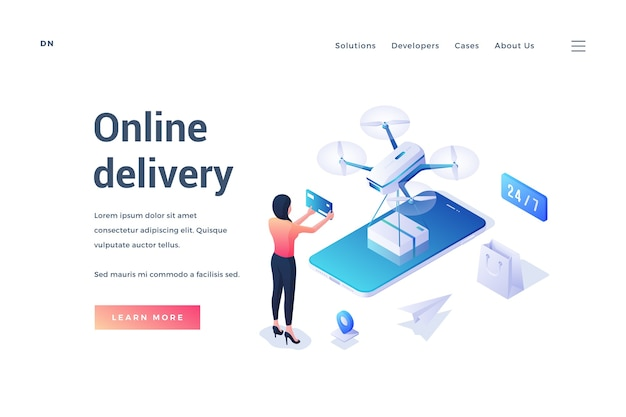 Template of isometric banner with female character using convenient online delivery application in smartphone with drone shipping package on white background