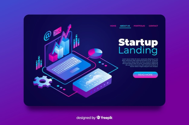 Template isometric startup landing page