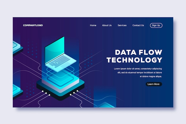 Template isometric technology landing page
