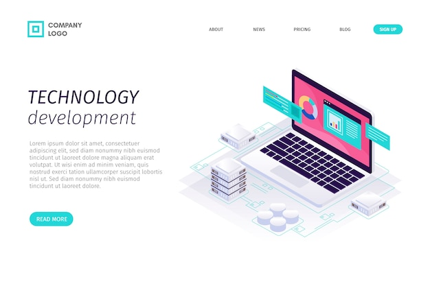 Template isometric technology landing page Free Vector