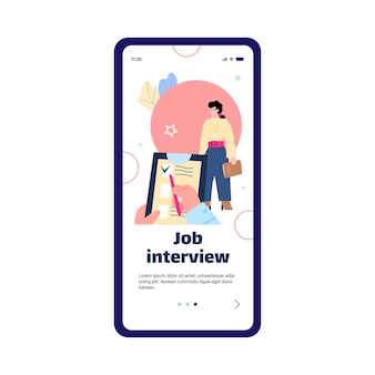 Template for job interview and employment assistance flat vector illustration