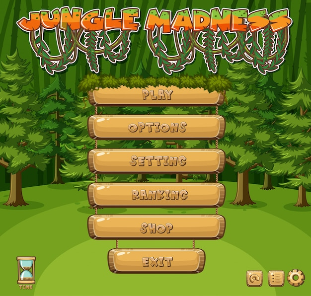 Template for jungle game with green trees in forest
