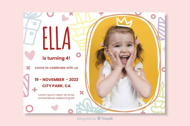 Template kids birthday invitation with image