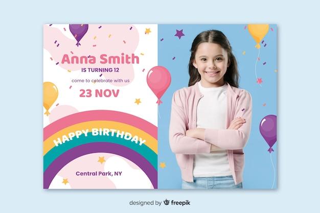 Template kids birthday invitation with image