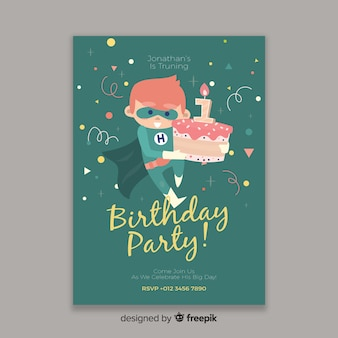 Template kids birthday invitation