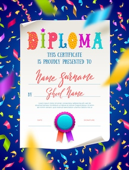 Template of kids certificate or diploma with multicolored confetti.