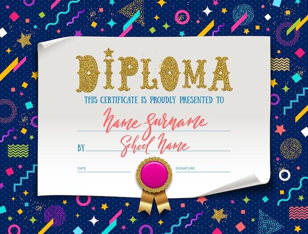 Template of kids diploma or certificate for kindergarten, school, preschool