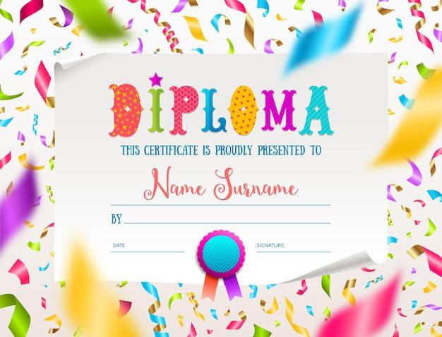Template of kids multicolored certificate or diploma with multicolored confetti.