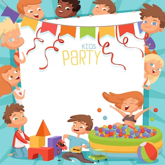 Template of kids party invitation