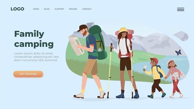 Mounrains 캠핑 플랫 그림에서 가족 하이킹과 웹 사이트 템플릿 방문 페이지