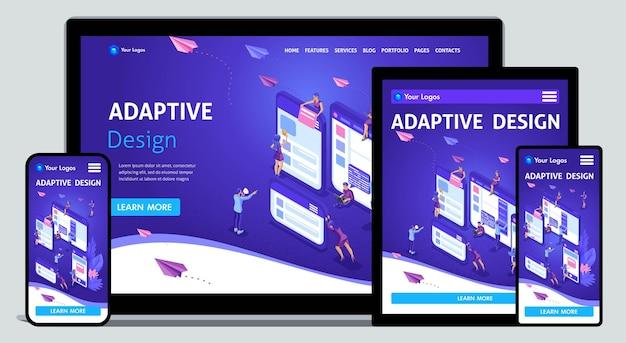 テンプレートランディングページウェブデザインのアイソメトリックコンセプトとモバイルウェブサイトの開発、アダプティブデザイン、アプリケーション。編集とカスタマイズが簡単で、適応性があります。