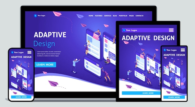 Template landing page isometric concept of web design and development of mobile websites, adaptive design, applications. easy to edit and customize, adaptiive.