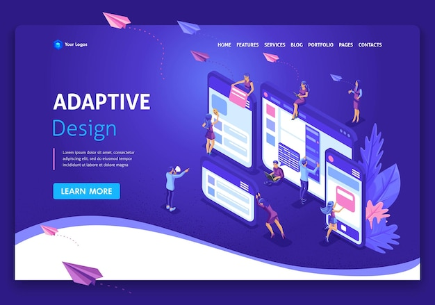 Template landing page isometric concept of web page design and development of mobile websites, adaptive design, applications. easy to edit and customize.