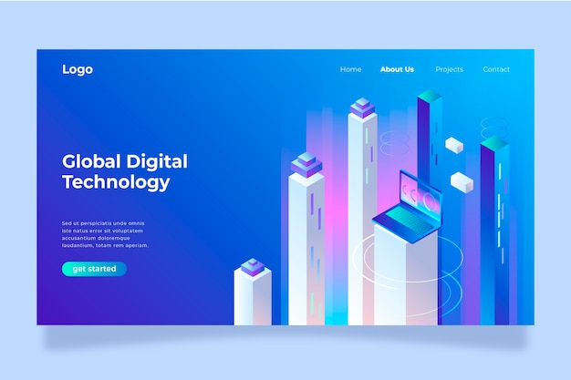 Template landing page technology concept
