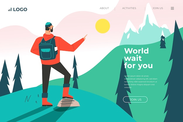 Template landing page travel