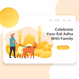 Template landing page web illustration of eid adha