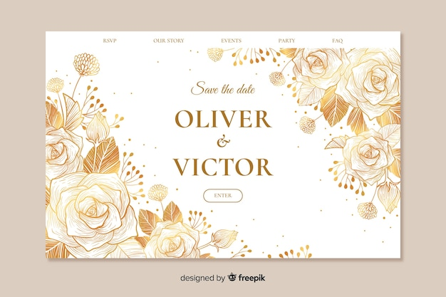 Template landing page wedding