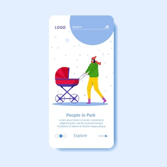 Template for landing page with happy people walk outdoors in winter park. woman with baby stroller have fun outdoor. young mother carrying for child. vector seasonal illustration.