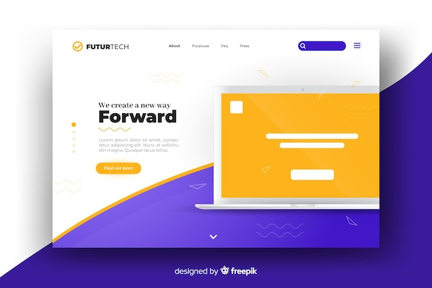 Template for landing page with laptop