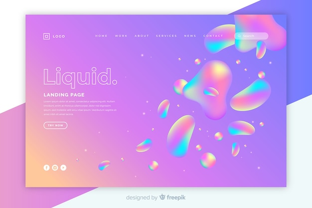 Template landing page with liquid design