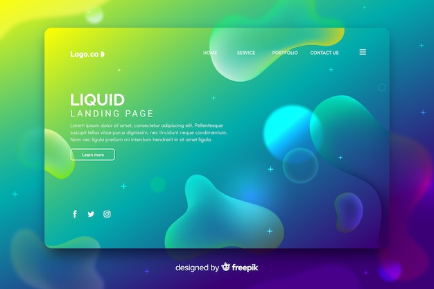 Template landing page with liquid shapes