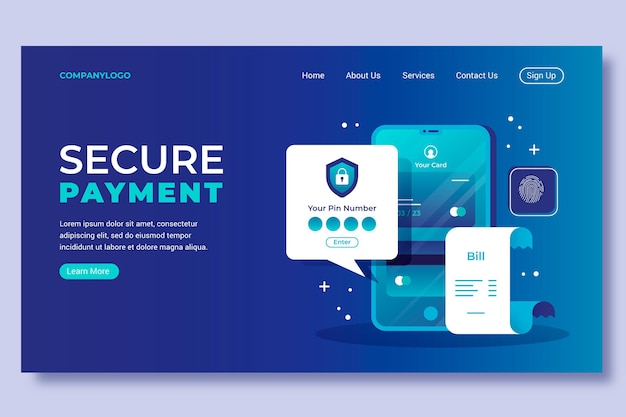 Template for landing page with secure payment