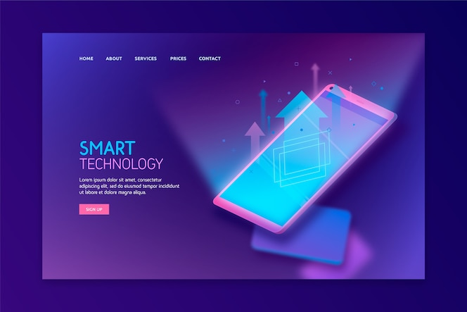 Template for landing page with smartphone