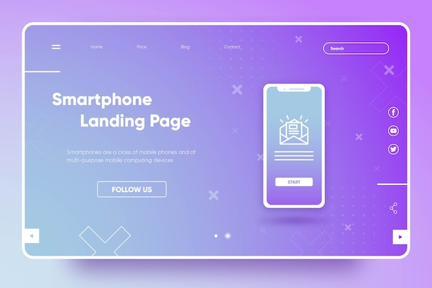 Template landing page with smartphone