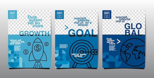 템플릿 레이아웃 디자인, 비즈니스 표지 책, 블루 톤