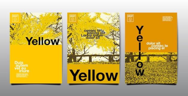 템플릿 레이아웃 디자인, 표지 책. 벡터, 노란색 테마