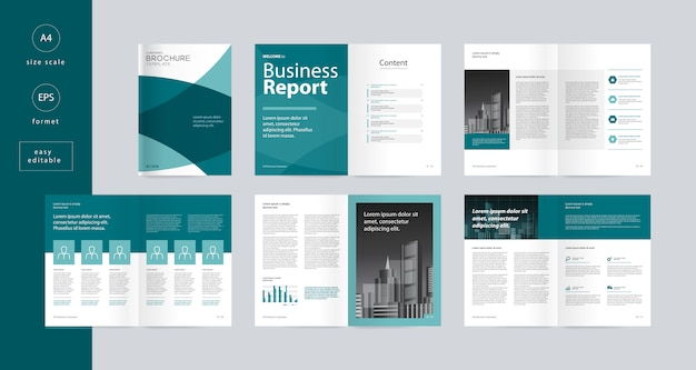 Template layout design with cover page for business brochure editable
