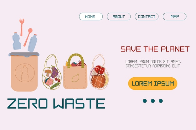 Template, layout landing page with an illustration trash can with plastic, bags for products of the concept of sustainable development or environmental protection. vector illustration in flat style.