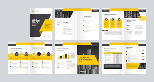 Template layout with cover page for company profile annual report