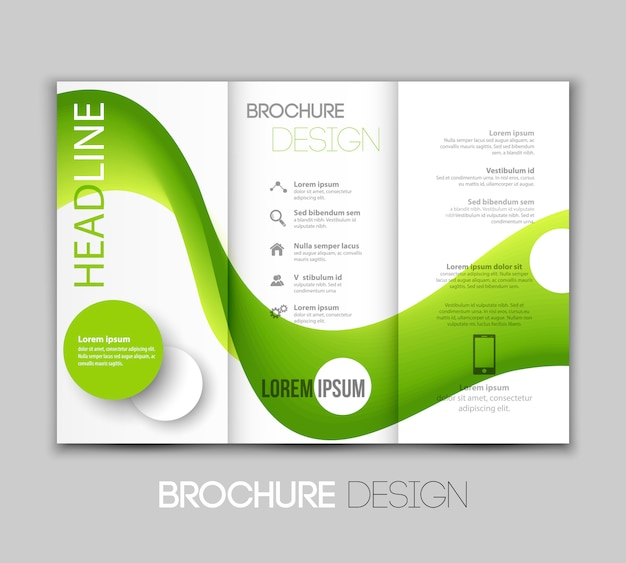 Template leaflet design with color lines