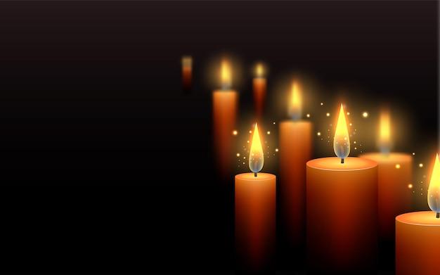 어둠 속에서 촛불을 태우고 애도의 템플릿 편지