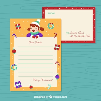 Template of a letter to santa from a girl