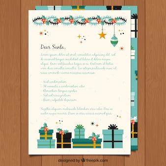Modello di una lettera a santa con decorazioni