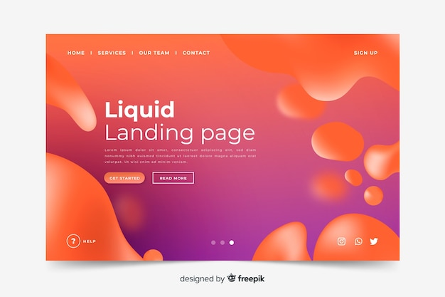 Template liquid shapes landing page