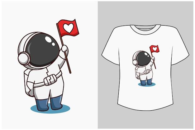Template little astronaut cartoon illustration