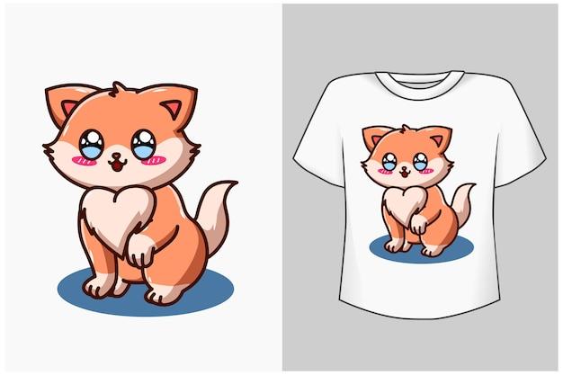テンプレート小さな幸せな猫の漫画イラスト